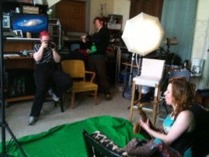 A photo shoot in progress at Cogflower Studio for The Portland Tarot