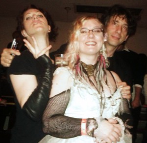 Theresa with Amanda Palmer and Neil Gaiman at a Show