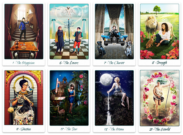 8 Sample Cards from The Portland Tarot