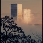 Portland Cityscape by Theresa Pridemore, Reflection Bouncing off Big Pink, onto Fog
