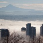 Portland Cityscape by Theresa Pridemore, View from OHSU on Foggy Day